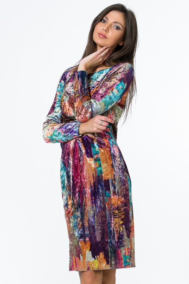 Rochie catifea Rainbow