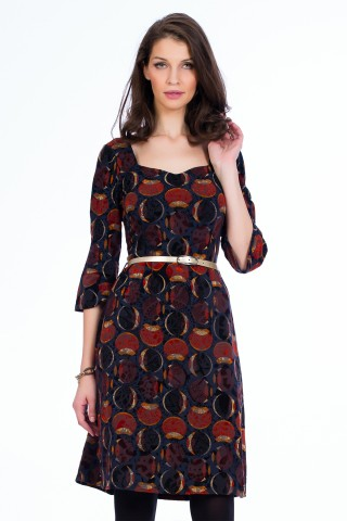 Rochie Velvet Leaves Navy+orange